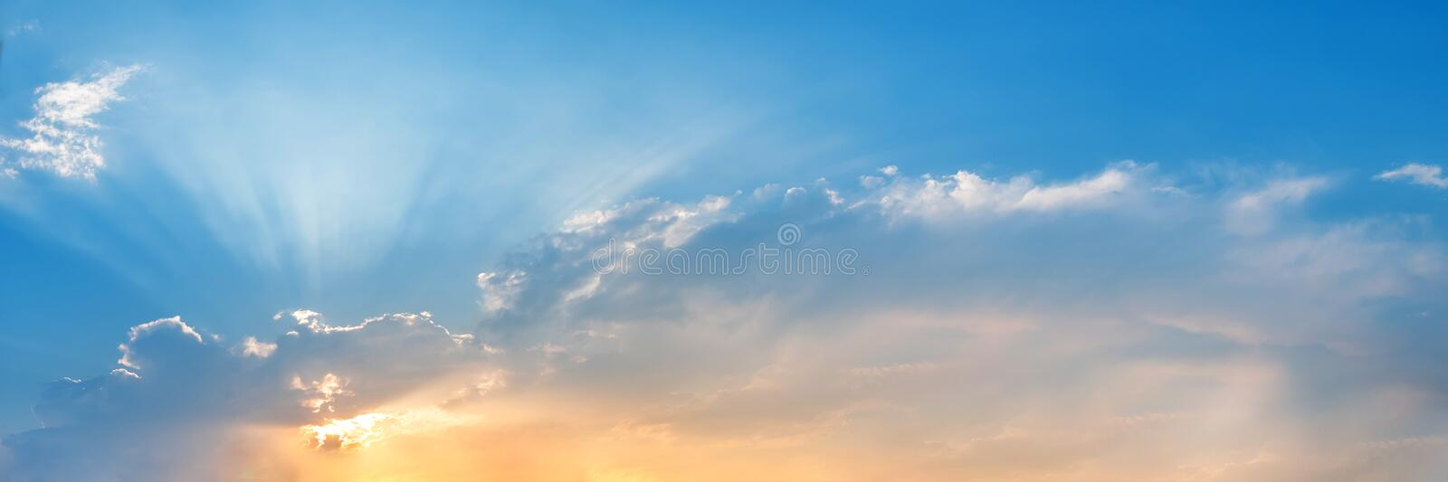 Dramatic panorama sky with cloud on sunrise and sunset time. Panoramic image stock photography