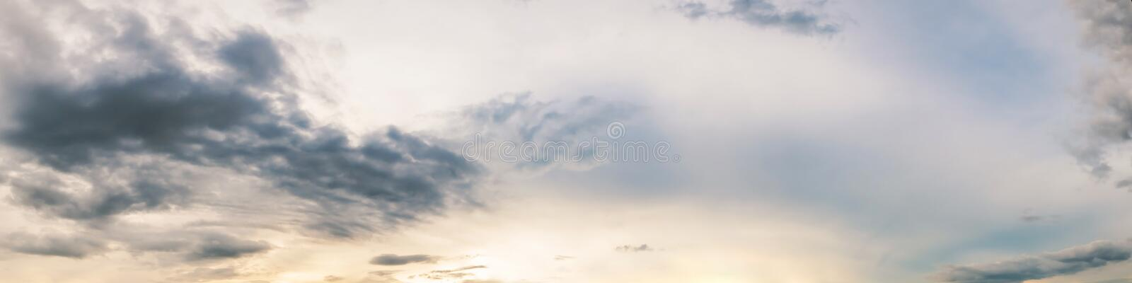 Dramatic panorama sky with cloud on sunrise and sunset time. Panoramic image royalty free stock photography