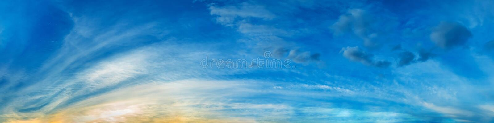 Dramatic panorama sky with cloud on sunrise and sunset time. Panoramic image royalty free stock photo
