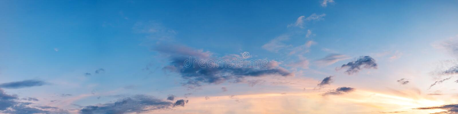 Dramatic panorama sky with cloud on sunrise and sunset time. Panoramic image stock images