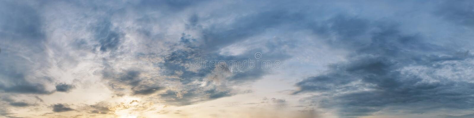 Dramatic panorama sky with cloud on sunrise and sunset time. Panoramic image stock photo