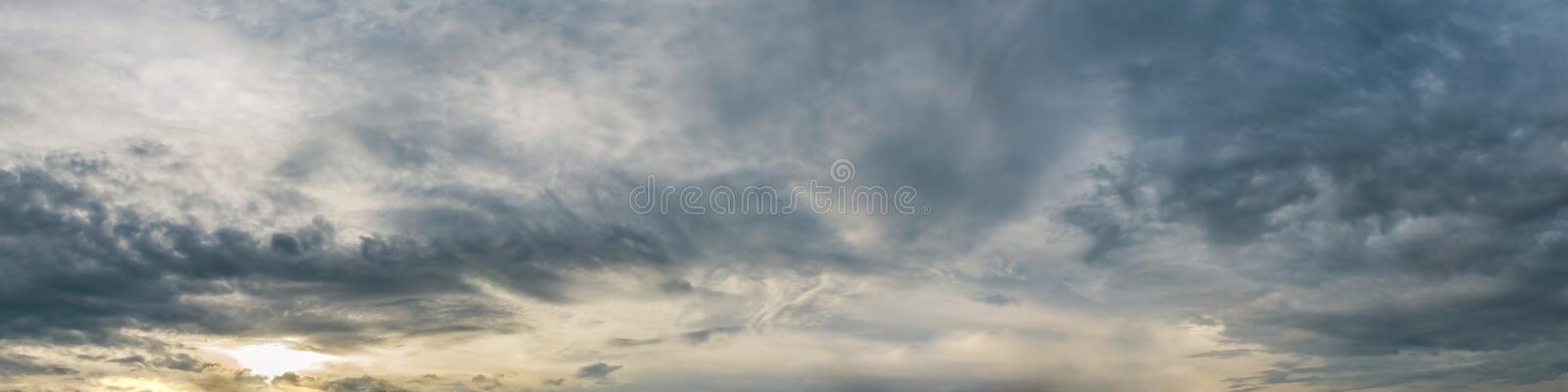Dramatic panorama sky with cloud on sunrise and sunset time. Panoramic image royalty free stock images