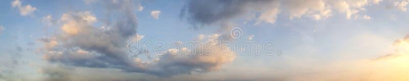 Dramatic panorama sky with cloud on twilight time. Panoramic image stock photo