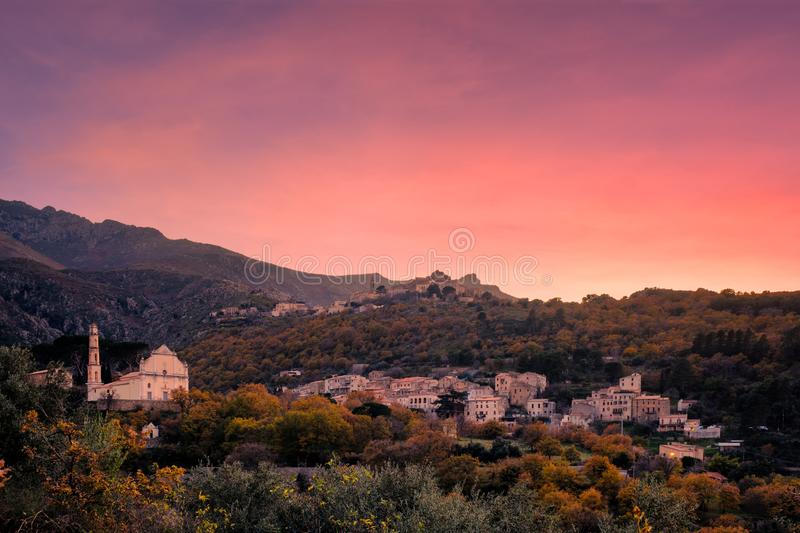 Sunset over mountain villages in Corsica stock photo