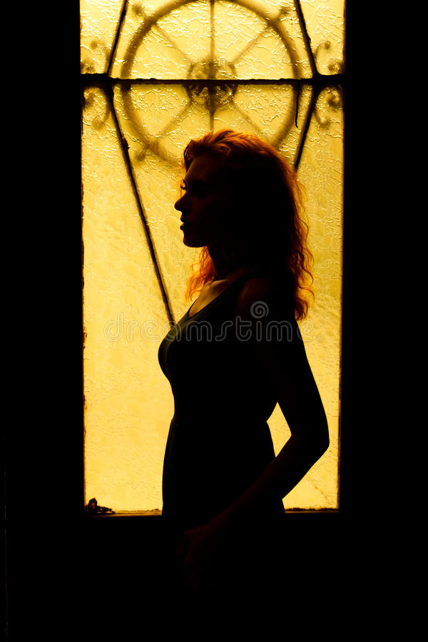 Dramatic portrait of a charming woman in the dark. royalty free stock photography