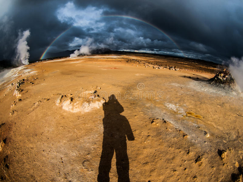 Dramatic rainbow. In geothermal area near Myvatn lake (Iceland stock photography