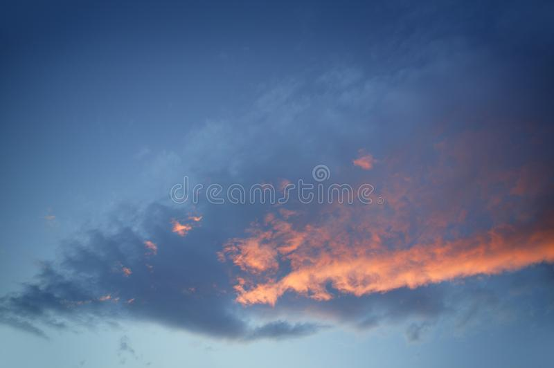 Dramatic Red Blue Sky On Sunset Evening Stock Image