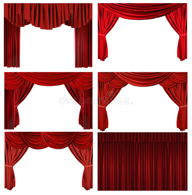 Dramatic red old fashioned elegant theater stage e vector illustration
