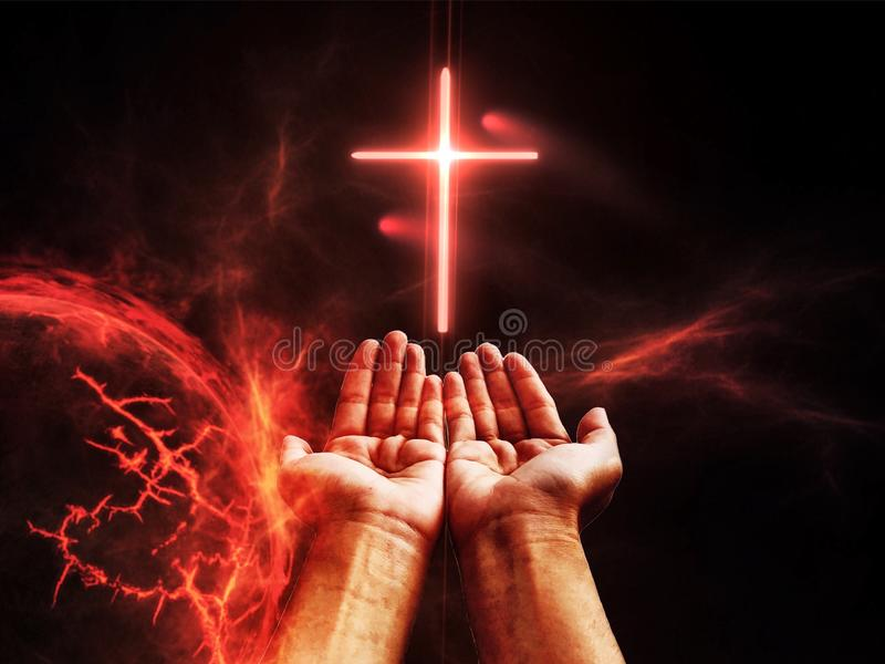 Dramatic religious background hell realm, bright lightnings in dark red apocalyptic sky, judgement day. End of world, eternal damnation, dark scany silhouettes stock images