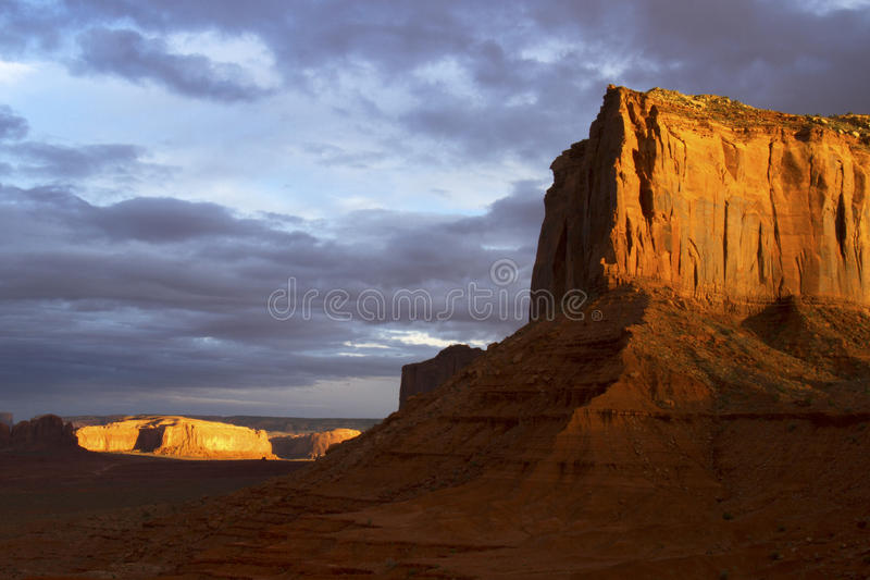 Dramatic Rock Formation At Sunset Stock Images