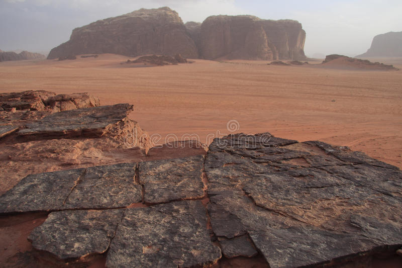 Dramatic rock formations in Wadi Rum desert royalty free stock photo
