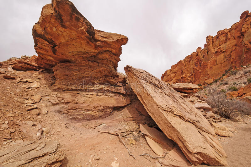 Dramatic Rocks In A Desert Canyon Stock Photos
