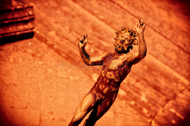 Dramatic scene of the faun, Satyr in Pompeii stock photos