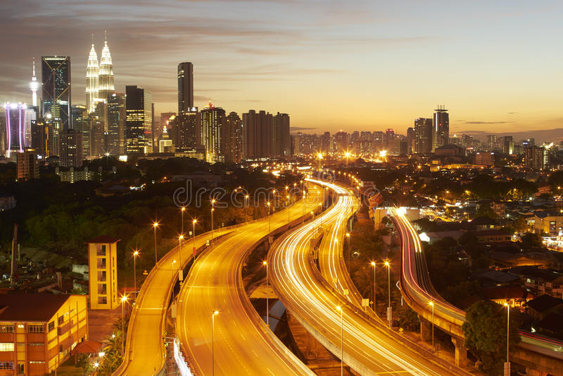 Dramatic scenery of the Kuala Lumpur city at sunset stock photo