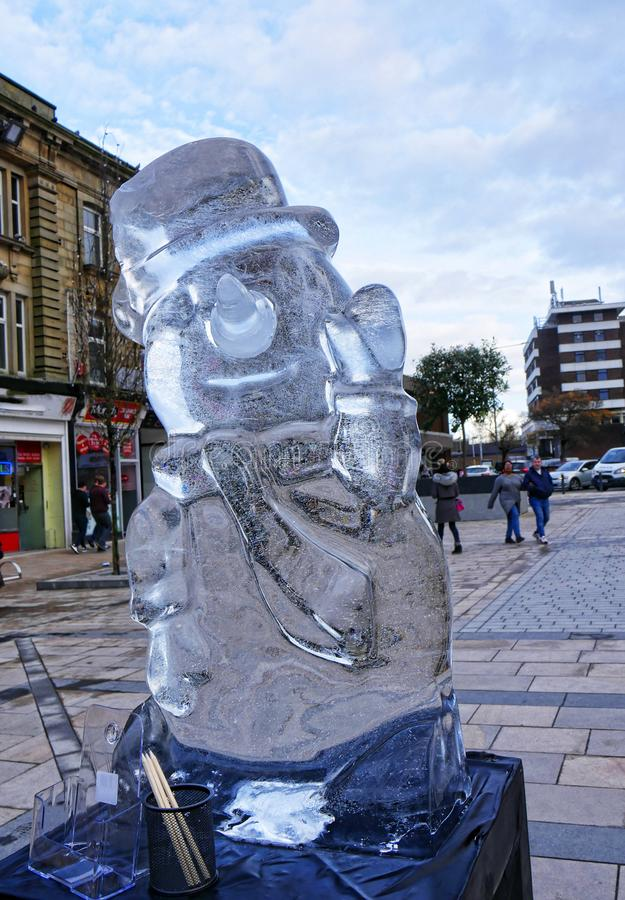 Carved Ice Sculptures in Burnley Town centre in Late November. These dramatic Sculptures decorate the town of Burnley in Lancashire England for one day before royalty free stock photo