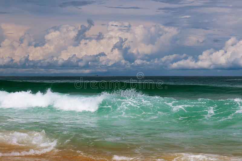 Dramatic sea storm. Sea wave and sky in rainy season stock photo