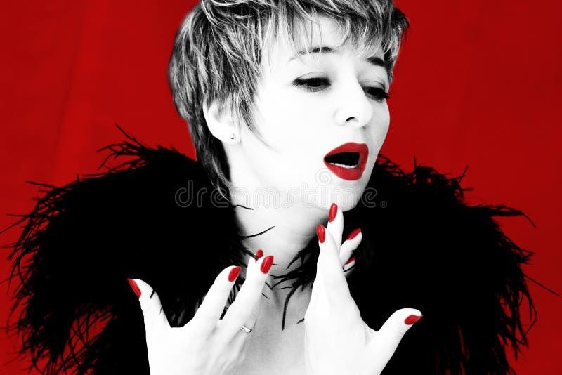 Dramatic singer. Dramatic image of a singer