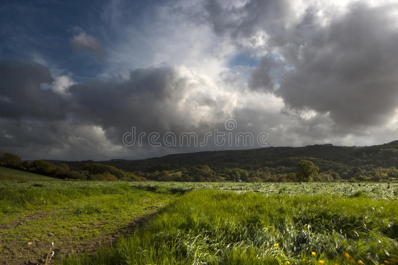 Dramatic sky. Over farmland in Dartmoor National Park. Devon. England. Europe stock photo