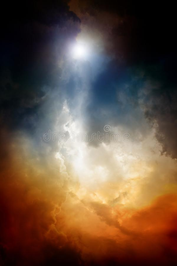 Dramatic sky. Apocalyptic background - dark dramatic sky, bright light form above. End of time, armageddon, countdown to armageddon, nostradamus armageddon 2012 stock image
