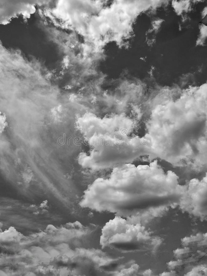 the dramatic sky and clouds. the picture is monochrome. royalty free stock image