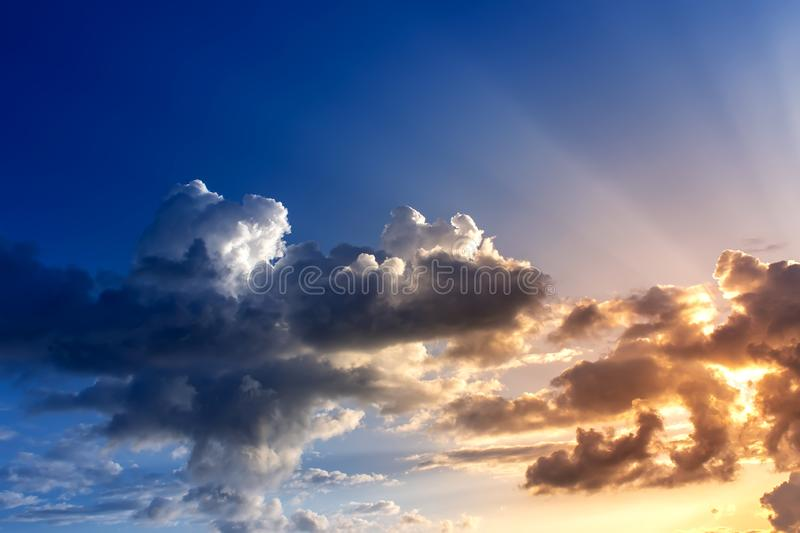 Dramatic sky with clouds on the sunset . Summer background. Dramatic sky with clouds. Summer background, sunset, landscape, sunrise, nature, outdoor, view, dusk royalty free stock photo