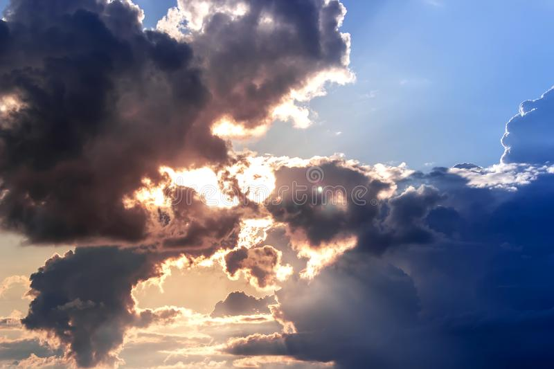 Dramatic sky with clouds on the sunset . Summer background. Dramatic sky with clouds. Summer background, sunset, landscape, sunrise, nature, outdoor, view, dusk stock image