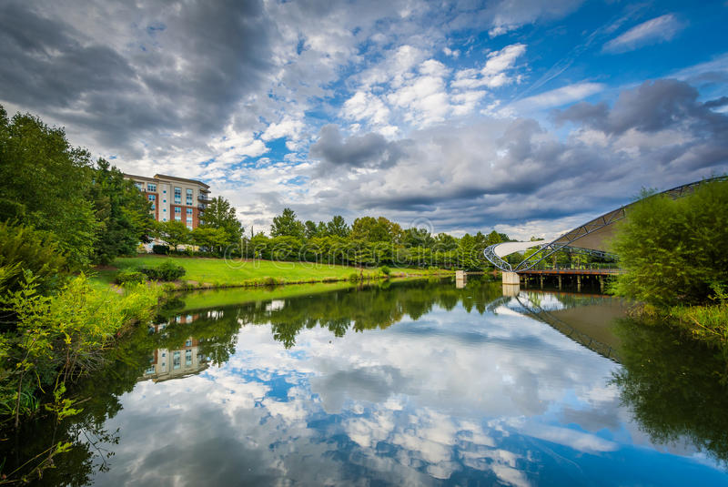 Dramatic sky over the lake at Symphony Park, in Charlotte, North. Carolina royalty free stock images