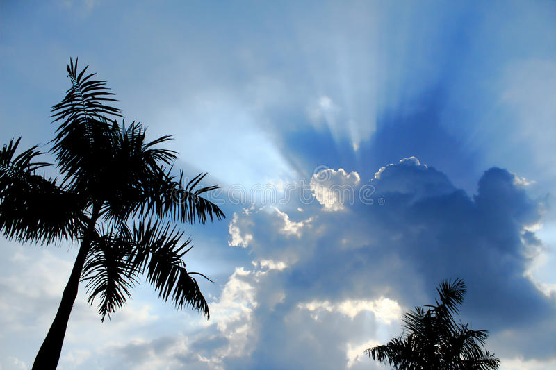 Dramatic sky with sun rays royalty free stock photography