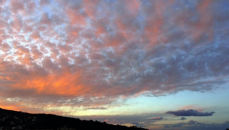 Dramatic Sky Sunset Clouds Scenery Background royalty free stock images