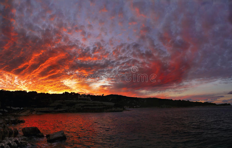 Dramatic sky, Sunset stock image