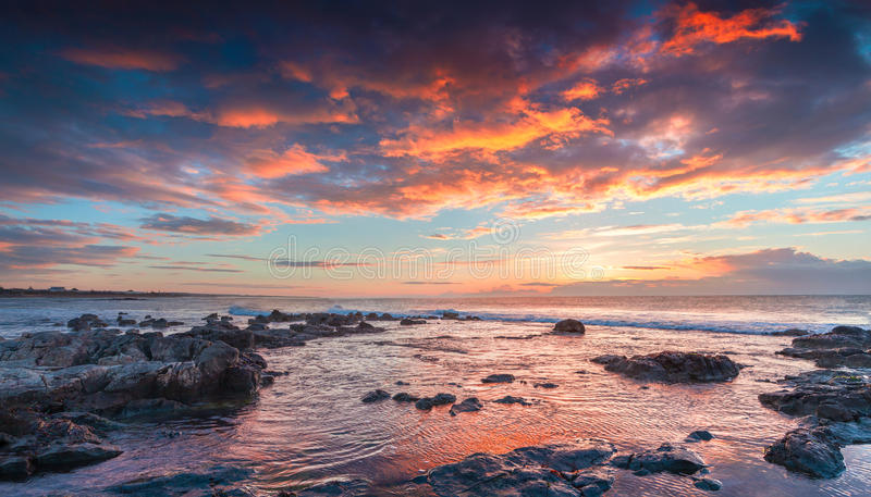 Dramatic spring sunrise on the Passero cape. Sicily, Italy, Tyrrhenian sea, Europe royalty free stock images