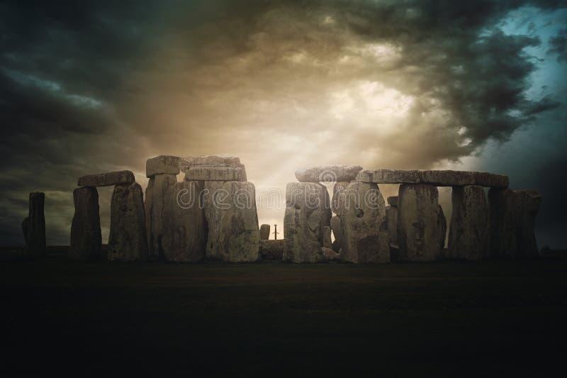 Dramatic Stonehenge. Dramatic cloudscape over Stonehenge .Fantasy manipulation royalty free stock photo