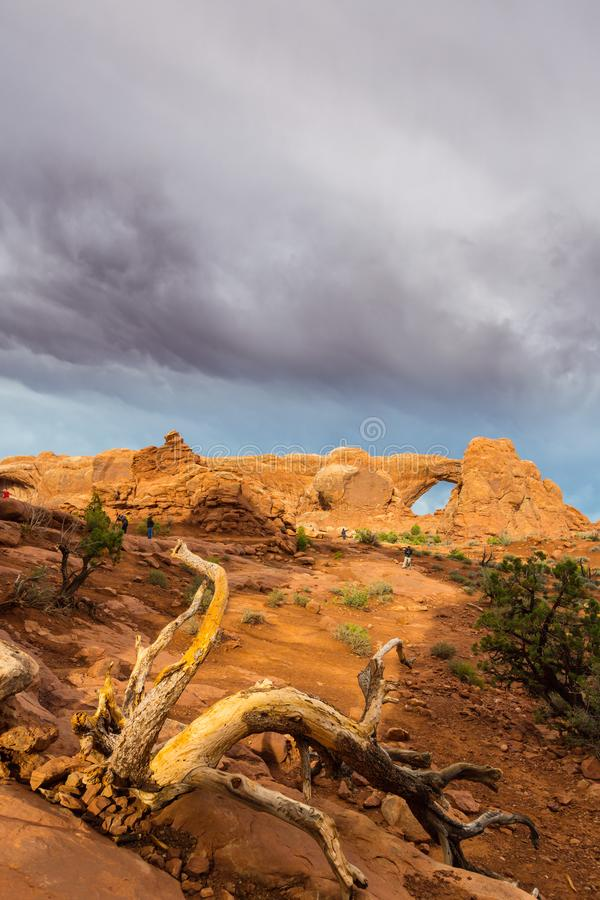 Dramatic storm clouds and rain in Arches National Park desert. Storm clouds and rain in Arches National Park, Utah, USA stock images