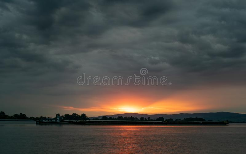 Dramatic stormy dark cloudy sky, natural photo background royalty free stock images