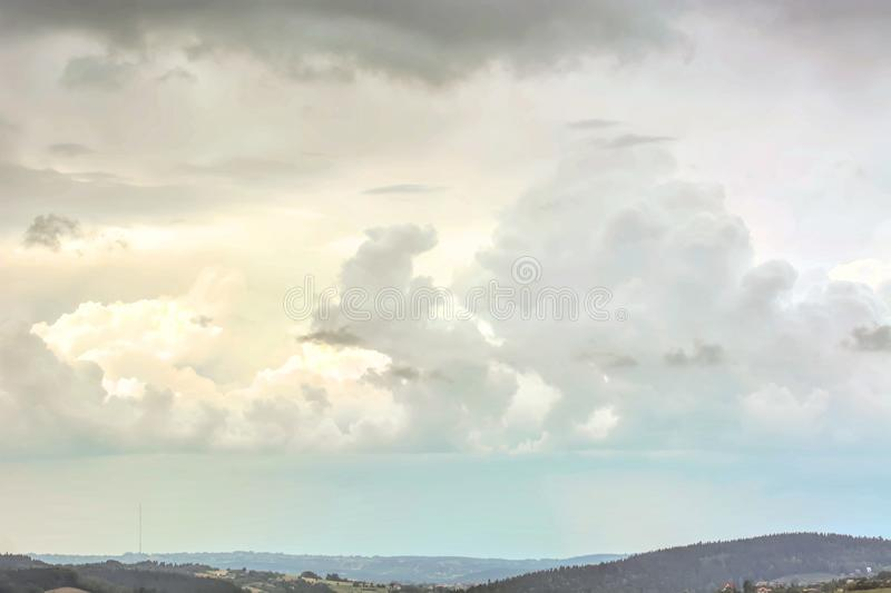 Dramatic stormy sky. Dramatic stormy sky with evening sky clouds - natural stormy sky landscape view royalty free stock photos
