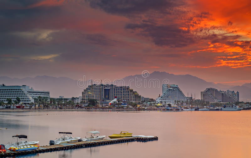 Dramatic sunrise at central beach of Eilat royalty free stock photos