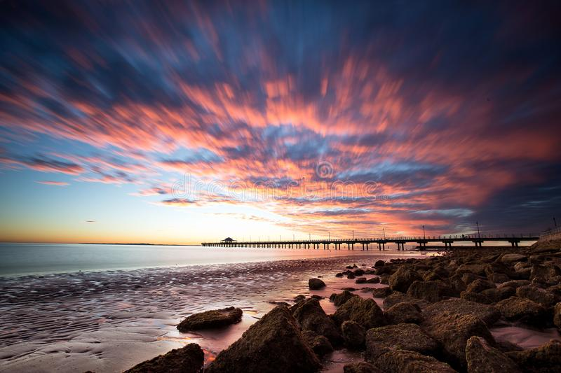 Sunrise over Shorncliffe pier royalty free stock photos