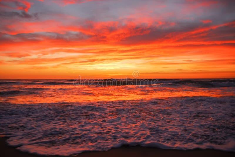 Dramatic sunrise over ocean