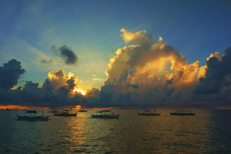 Dramatic sunrise over the Pacific Ocean royalty free stock image