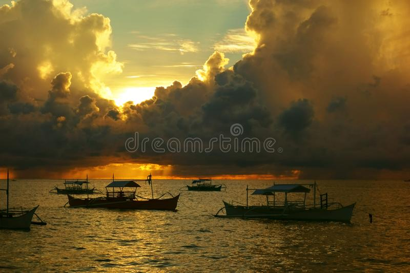 Dramatic sunrise over the Pacific Ocean stock images
