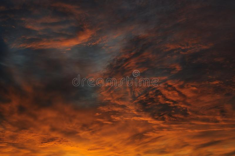 Dramatic sunrise sky at solstice in Russia. Horizontal royalty free stock photo