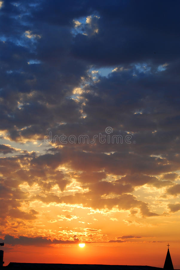 Dramatic sunrise. In the town royalty free stock image