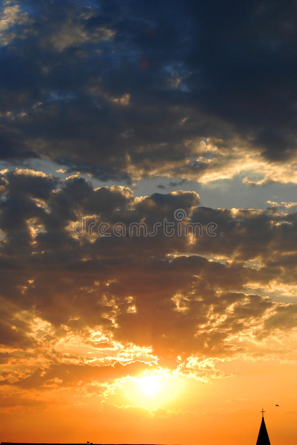 Dramatic sunrise. In the town stock images