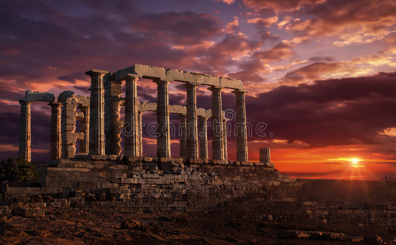 Dramatic sunset with ancient temple royalty free stock photo