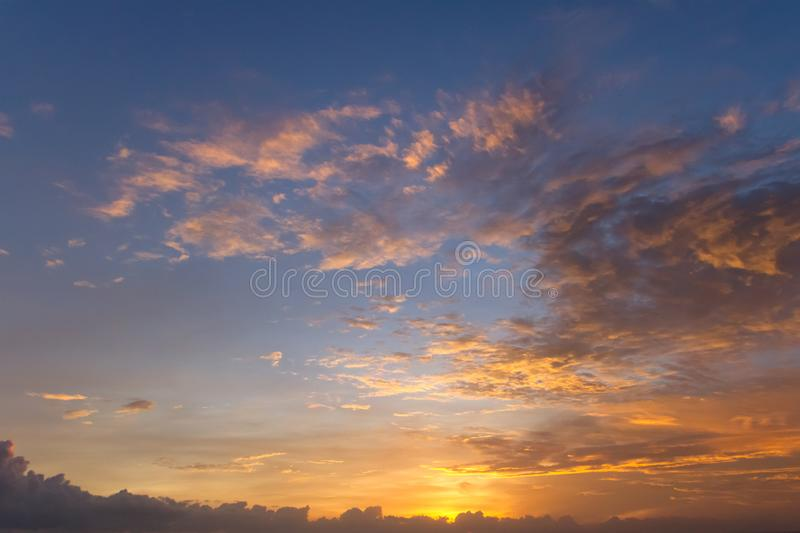 Dramatic sunset clouds over water landscape royalty free stock photos
