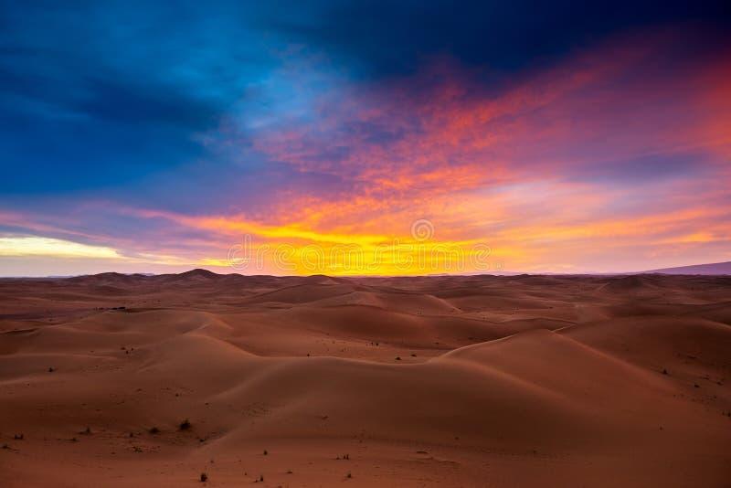 Dramatic sunset in desert stock image