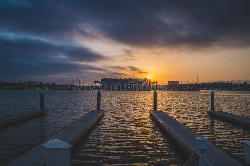 Dramatic Sunset at Marina del Rey royalty free stock photos