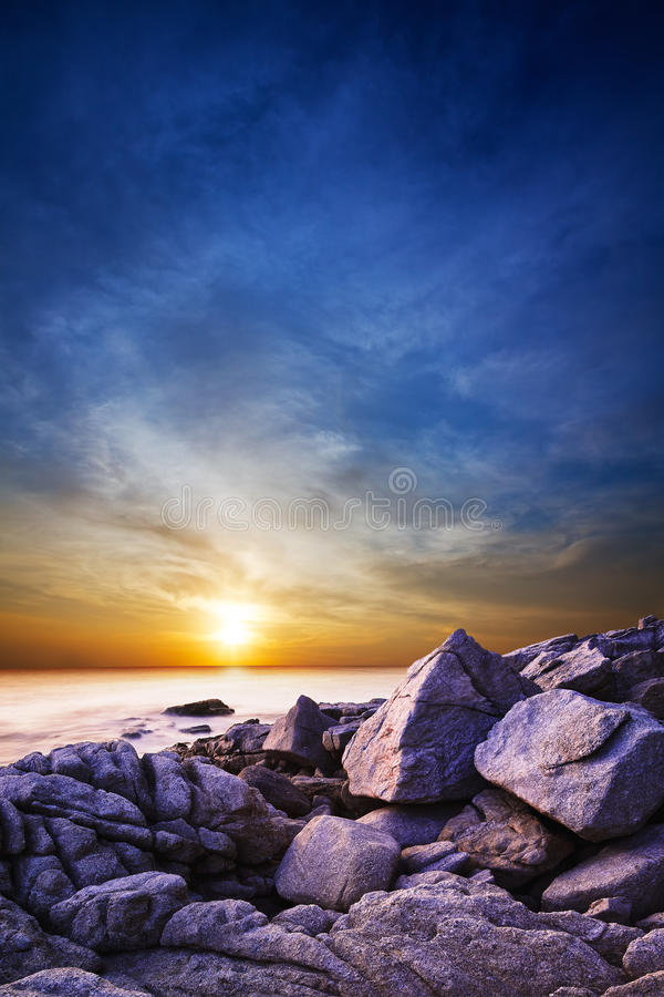 Download Dramatic Sunset Over The Sea. Stock Photo - Image: 19309430