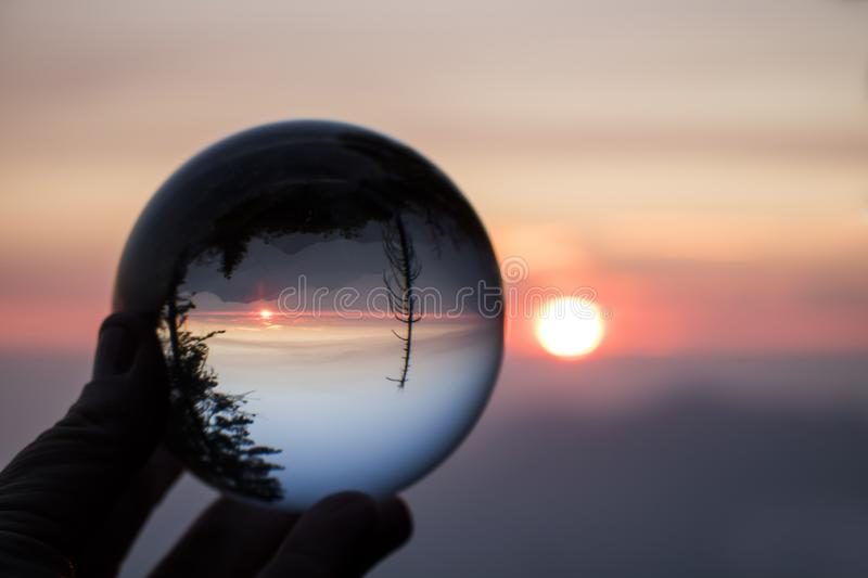 Dramatic Sunset over Sierra Nevada Mountains Captured in Glass B stock photos