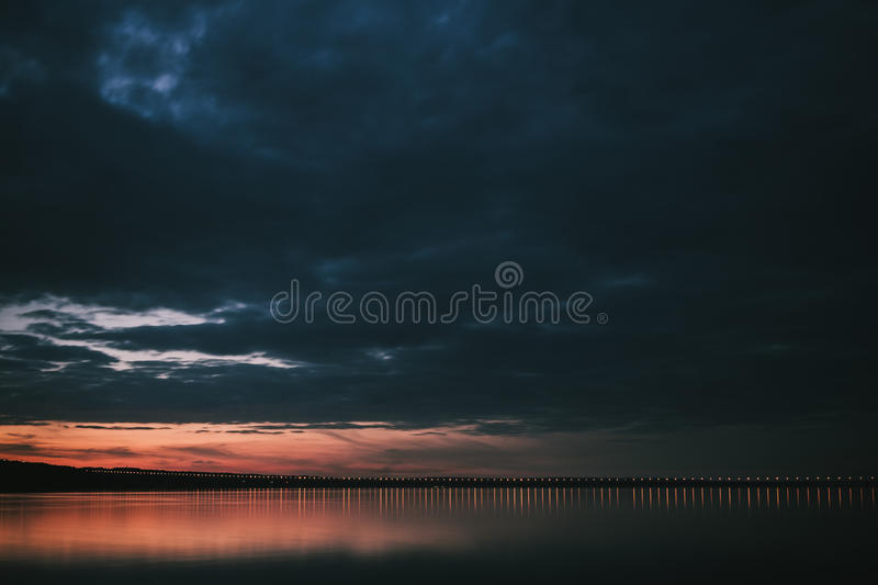 Dramatic sunset over Volga River and Presidental Bridge, located in Ulyanovsk stock photos